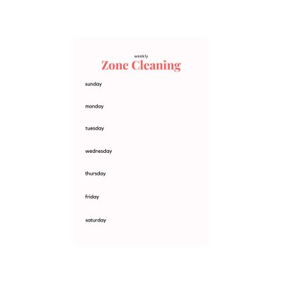 Zone Cleaning Printable